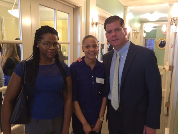 Mayor Marty Walsh posed with Sarah Lloyd-Wingard and Keila Gomes, who are interning at the City of Boston's Office of the Corporation Counsel this summer.