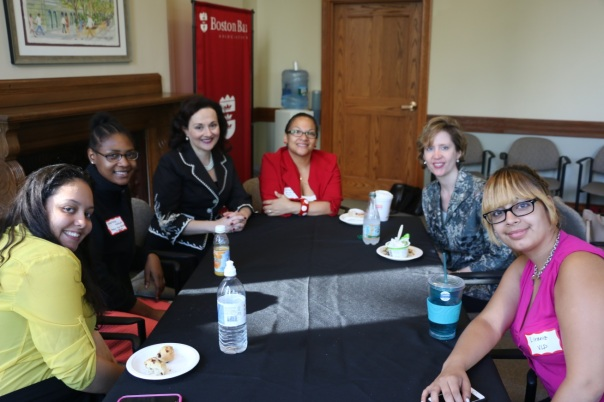 The interns and supervisors at Massachusetts Law Reform Institute and Volunteer Lawyers Project discussed their job responsibilities with BBF Trustee and BBA President-Elect Julia Huston.