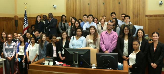 The BBA Summer Jobs students visited Judge Joan Feeney's courtroom at the U.S. Bankruptcy Court for the final session of the M. Ellen Carpenter Financial Literacy Program.