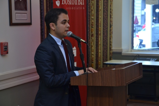 Recent Boston Latin Grad Ben Haidieri eloquently spoke to attendees about this past two summers participating in the BBA's Summer Jobs Program and how his experiences working for the Suffolk County DA's Office has contributed to his career plans.