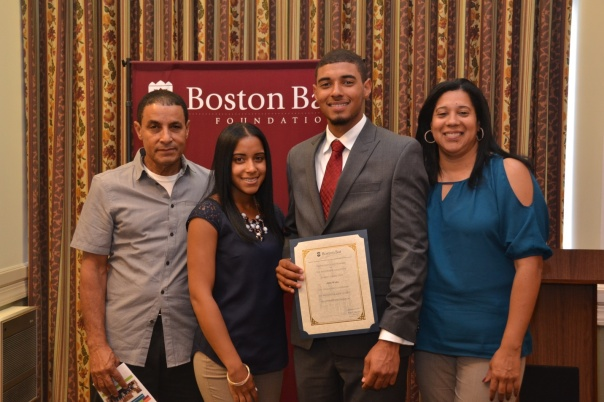 Summer Jobs Intern Jose Maria, from New Mission High School , posed with his family at the Summer Jobs Celebration following his successful internship with Edwards Wildman Palmer LLP.
