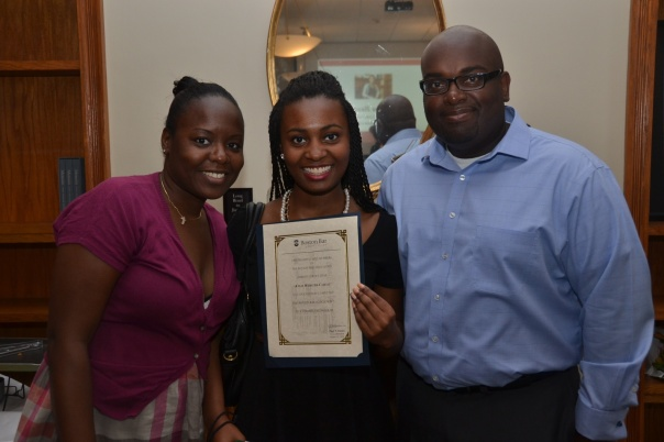 Kylie Webster-Cazeau, from Boston Latin School, showed off her certificate with her family at the Summer Jobs Celebration. Kylie spent the summer interning at the Federal District Court, working in one of the BBF's funded positions.