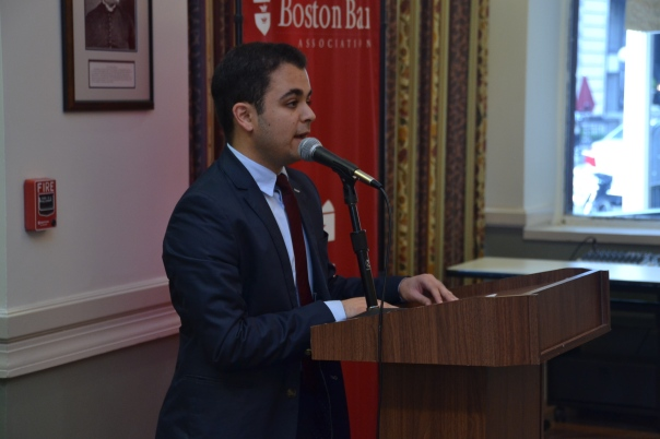 Ben Haideri, a recent graduate of Boston Latin Academy and intern at the Suffolk County District Attorney's Office, spoke with the audience about his experience in the program.