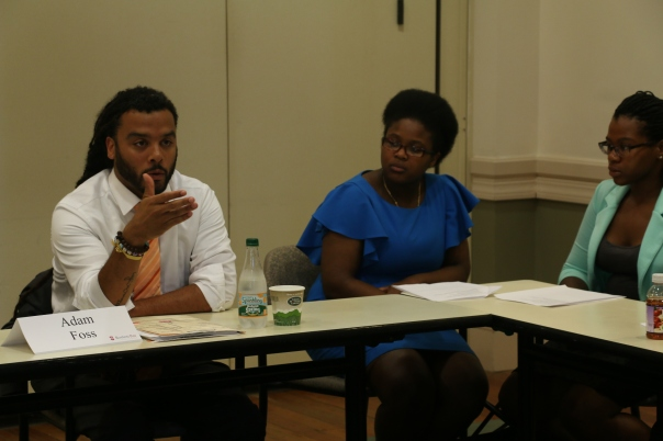 """Adam Foss (Suffolk County District Attorney's Office) told the students about his work as a prosecutor during the new Summer Jobs enrichment seminar on """"Exploring Legal Careers."""""""